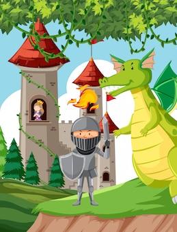 Castillo con princesa, caballero y dragón.