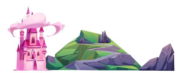 Castillo rosa mágico de dibujos animados y colina verde