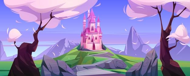 Castillo rosa mágico de dibujos animados en las montañas