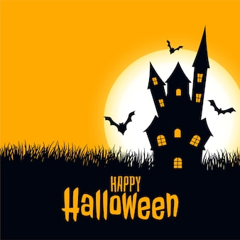 Castillo de tarjeta de miedo de halloween feliz con luna y murciélagos