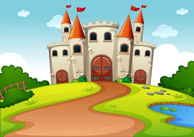 Castillo torre escena de dibujos animados de tierra de cuento de hadas