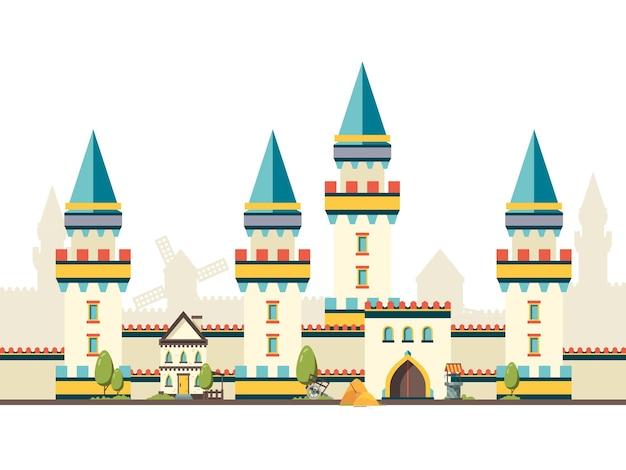 Castillo con torres. pared de ladrillo horizontal del castillo con cuadros planos de grandes puertas de madera.