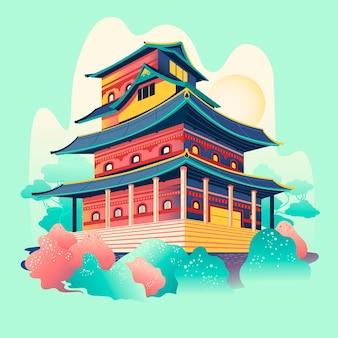 Castillo tradicional japonés dibujado a mano