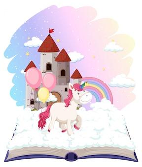 Castillo de unicornio en libro abierto