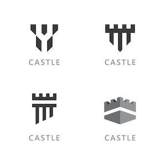 Castillo vector logo icono plantilla diseño vectorial