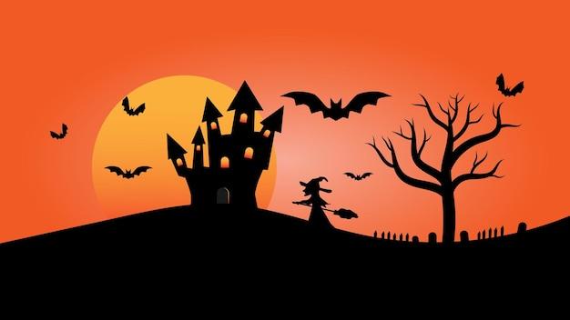 Castillo con ventana de iluminación en colinas con árboles y luna llena en la escena de dibujos animados del paisaje del cielo nocturno
