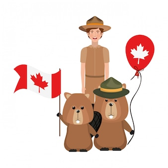 Castor animal y guardabosques de canada.