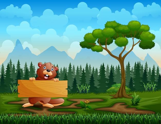 Un castor con un cartel de madera en la naturaleza