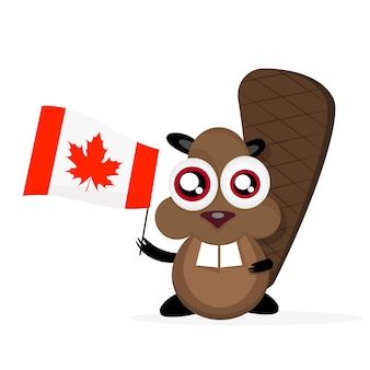 Castor de dibujos animados feliz con bandera canadiense