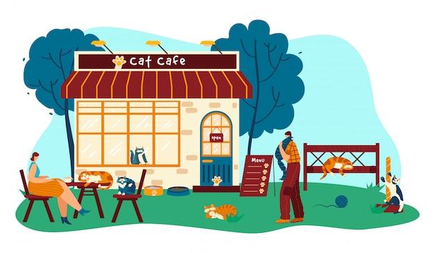 Cat cafe con divertidos personajes de dibujos animados de mascotas, la gente toma café y juega con animales, ilustración