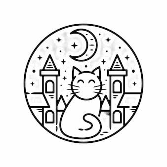 Cat castle night minimalista vintage logo insignia plantilla monoline ilustración vector premium