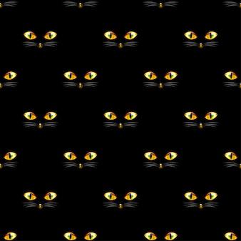 Cat golden eye seamless en fondo negro