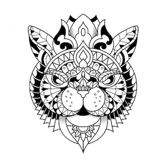 Cat ilustración, mandala zentangle y diseño de camiseta
