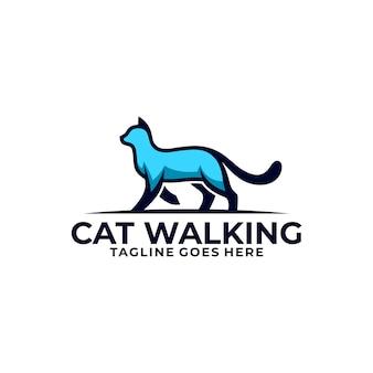Cat walking design concept ilustración vector plantilla