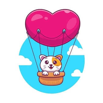 Cat with love hot air balloon vector icono ilustración. gato y globo de aire