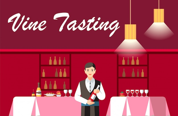 Cata de vinos en restaurante plano vector banner