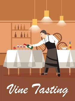 Cata de vinos en tienda de vinos plana vector banner