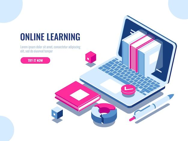 Catálogo de cursos en línea icono isométrico, educación en línea, aprendizaje de internet