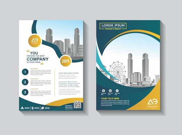 Catálogo de folleto de diseño de portada para informe anual.
