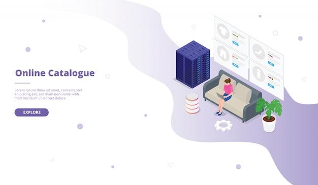 Catálogo en línea o campaña de catálogo para página web de plantilla de sitio web página de inicio de inicio con isometría isométrica diseño de estilo plano 3d