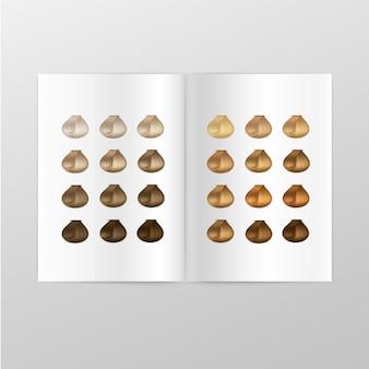 Catálogo de paleta de colores de cabello sobre fondo blanco