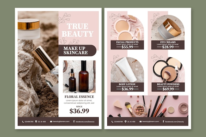 Catálogo de productos de belleza de colores degradados.