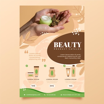 Catálogo de productos de belleza para diferentes cosméticos.