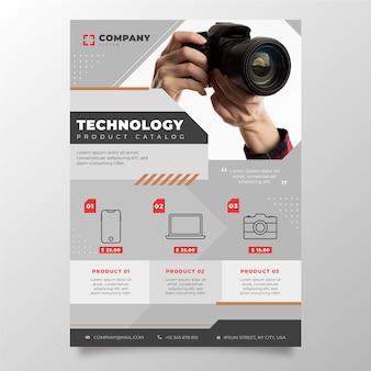 Catálogo de productos de tecnología plana con foto.