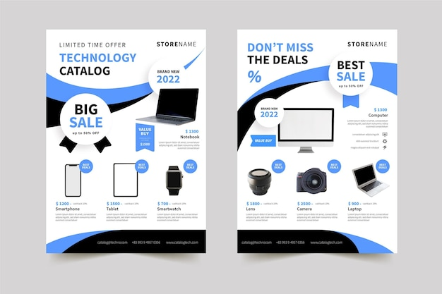 Catálogo de productos de tecnología plana