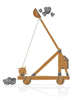 Catapulta de madera vieja tirando piedras ilustración vectorial