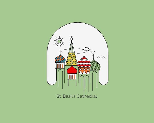 Catedral de san basilio, plaza roja, moscú, rusia. ilustración de vector de arte de línea plana