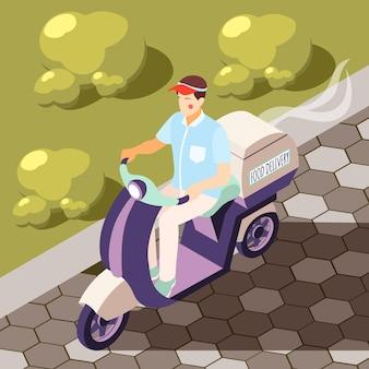 Catering en plano fondo isométrico con ilustración de mensajería en moto