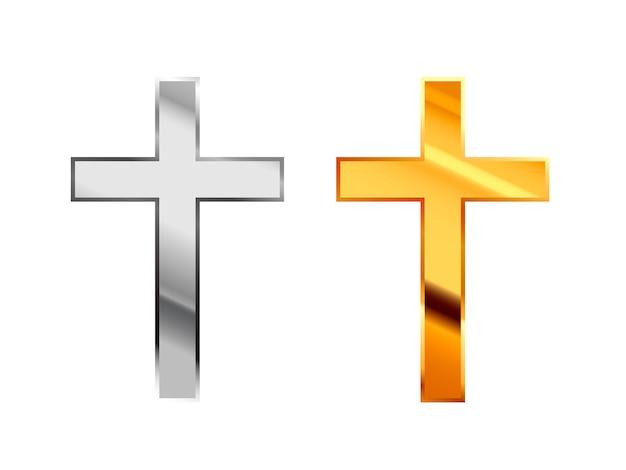Catolicismo signos religiosos hechos de plata brillante y metal dorado sobre blanco