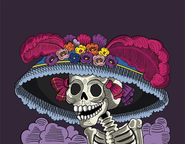 Catrina cráneo mexicano