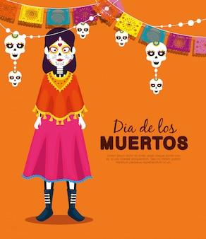 Catrina con pancarta de fiesta de calavera para celebrar el evento