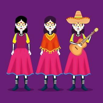 Catrina con sombrero y guitarra para celebrar el día de los muertos.