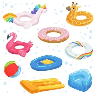 Caucho inflable, colchones, pelotas y otros equipos de agua para niños.