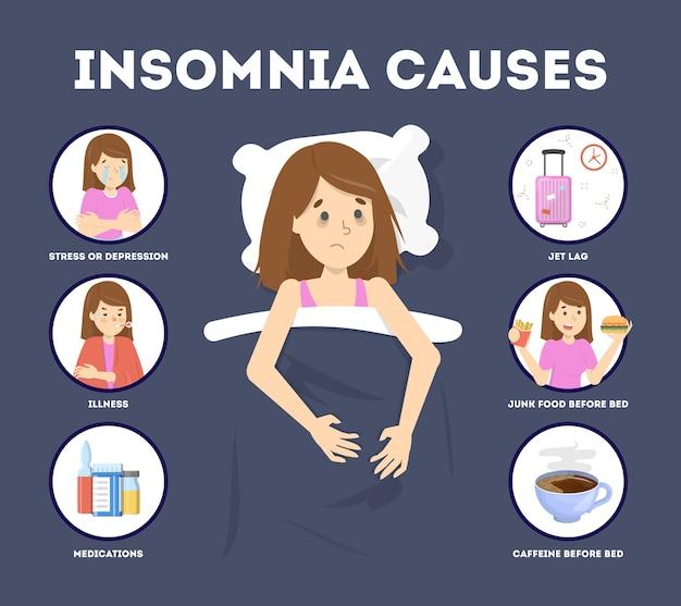 Causas del insomnio. estrés y problema de salud, jet lag. trastorno del sueño y mujer insomne cansada en la cama. ilustración de vector plano aislado