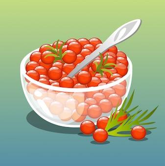 Caviar rojo. ilustración vectorial
