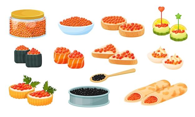 Caviar rojo y negro, ilustración plana conjunto aislado en blanco, panqueques y sándwich con caviar, rollo, merienda, caviar enlatado.