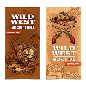 Cawboy wild west banners verticales