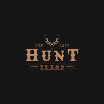 Caza en el diseño vintage de texas con tema de ciervos