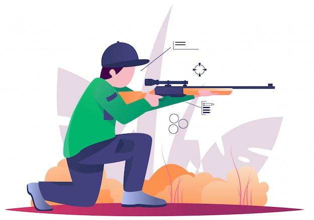 Caza de francotiradores en bosque ilustración plana