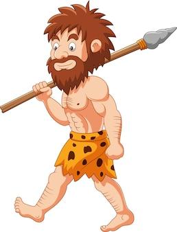 Caza de hombre de las cavernas de dibujos animados con lanza