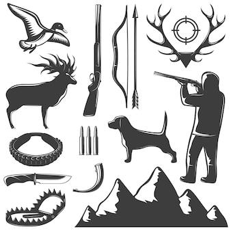 Caza icono aislado negro establece métodos para atrapar animales y cazarlos ilustración vectorial