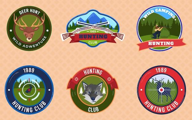 Caza insignias emblemas conjunto de ilustraciones.