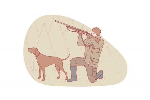Cazador, caza, perro, ilustración