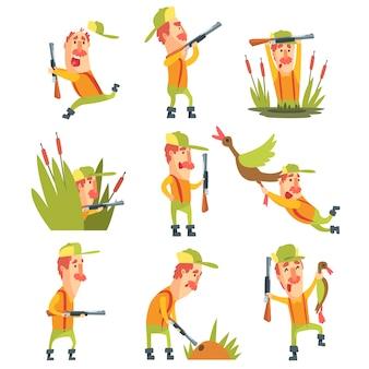 Cazador en diferentes situaciones divertidas conjunto de ilustraciones