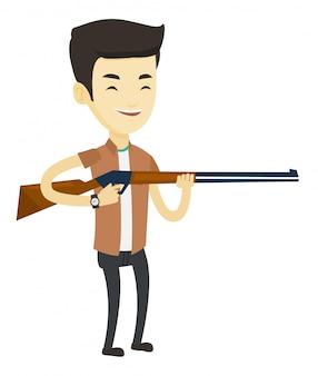 Cazador listo para cazar con rifle de caza.