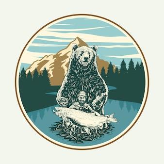 Cazador de osos y peces en la naturaleza